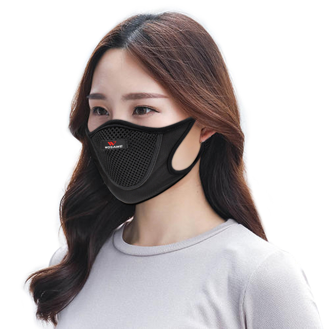 WOSAWE Sports Cycling Face Mask Anti-pollution Breathable Anti-UV Windproof Half Face Shield Washable Mask With Filter Men 5