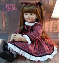 NPK 60CM suave de silicona de cuerpo de bebé niña muñeca bebé muñeca niño realista muñeca Reborn bebés en vestido rojo