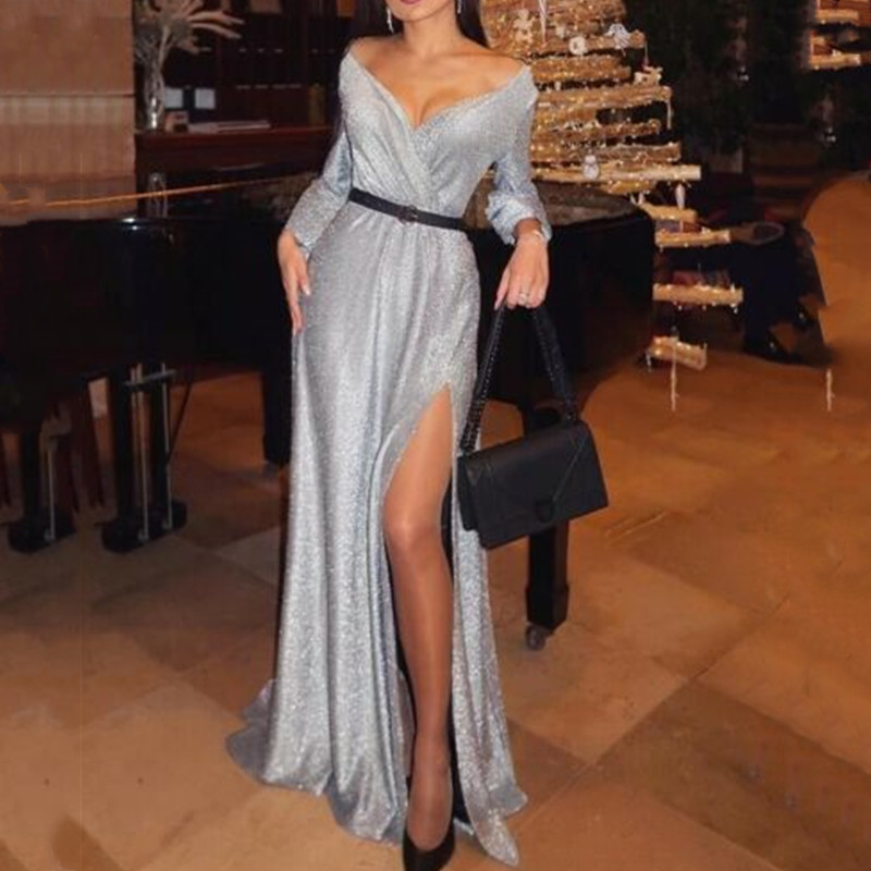 <font><b>6</b></font> Style Deep V Neck Women Long Sleeve Spring Silver Sequined Backless <font><b>Dresses</b></font> Party <font><b>Dress</b></font> Lace Mesh Sleeve Vestidos S-<font><b>XL</b></font> image
