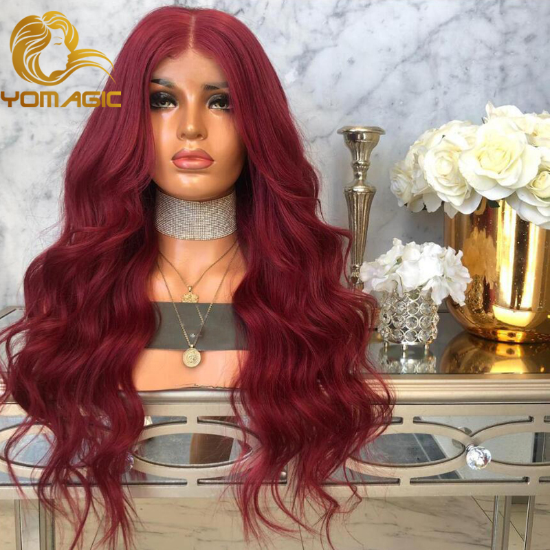 Yomagic Hair Red Color Synthetic Hair Lace Front Wigs With Natural Hairline Heat Resistant Fiber Hair Glueless Lace Wigs