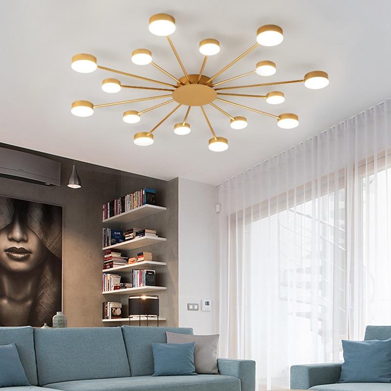 2020 new nordic living room lights gold ceiling lights led art chandelier ceiling lamp ac220v black light fixture room lights