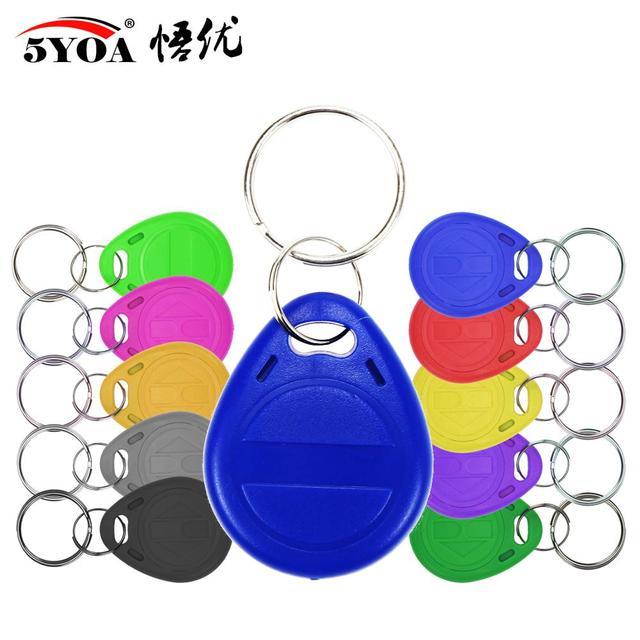 50pcs/lot EM4305 T5577 125khz Copy Rewritable Writable Rewrite keyfobs RFID Tag Key Ring Card Proximity Token Badge Duplicate
