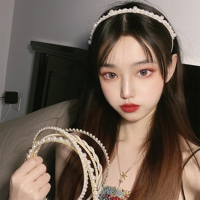 Gold Pearl Hairbands For Women Hair Accessories Designer Band Flower Hoops Bow Wedding Headband Metal Bridal Headwear Bands Clip 5