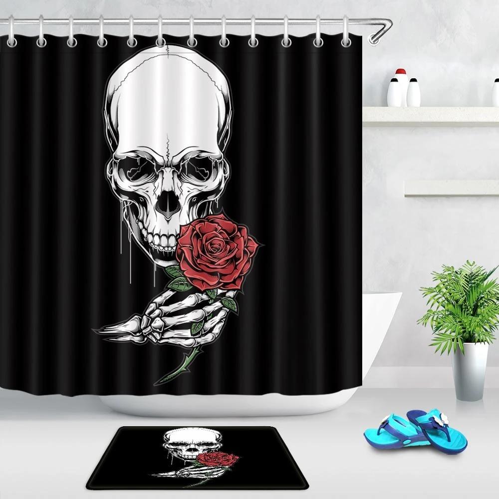 skulls shower curtain flowers red rose sugar skull skeleton halloween all saints day black waterproof bathroom curtains decor