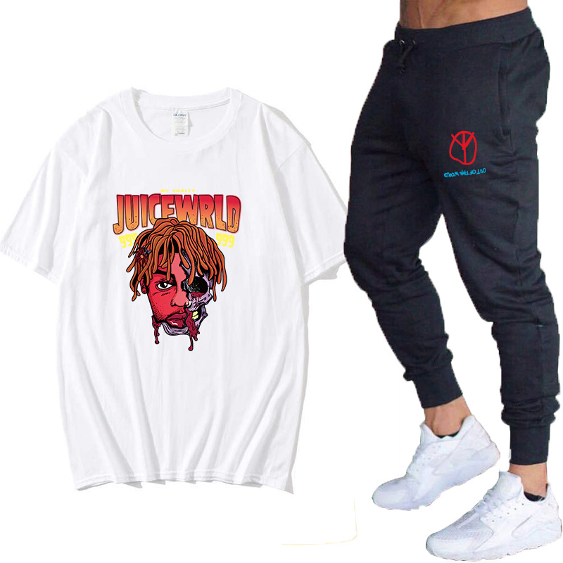 JuiceWrld T-shirt Juicewrld 999 Cartoon T-shirt Large Size Cute Graphic T-shirt Streetwear Male Graphic T-shirt + Pants Set