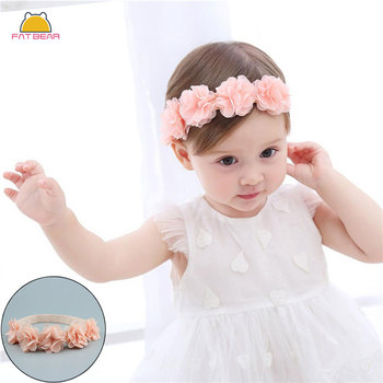 Flower Solid Baby Headbands For Girls Ribbon Handmade Elastic Soft Baby Headband Hairband Flower Newborn Infant Hair Accessories solid velvet bow baby headbands for girls handmade nylon elastic soft knot baby turban headband newborn infant hair accessories