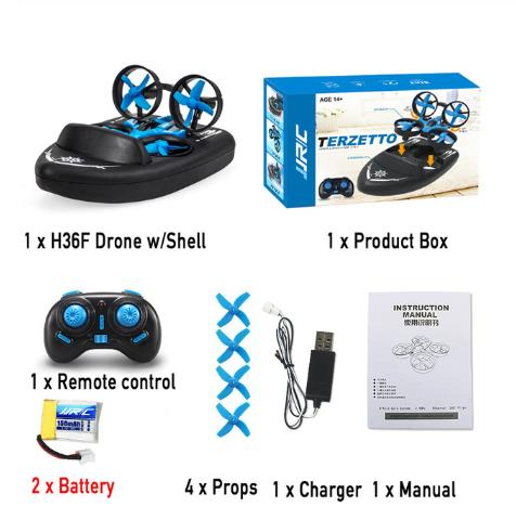 New JJRC H36F 3 in 1 RC Drone Quadcopter Vehicle Hovercraft Boat Drone RC Quadcopter RTF RC Tiny Gift Present Kid Toys
