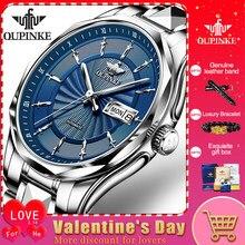 Oupinke relógios de luxo dos homens da marca superior aço inoxidável mecânica totalmente automático relógios de negócios relógio mecânico