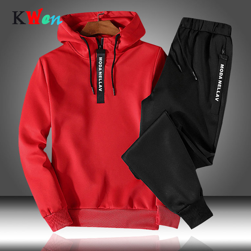 Patchwork Men's Sportswear Sets 2019 Autumn Winter Hooded Thick Male Casual Tracksuit Men 2 Piece Sweatshirt + Sweatpants Set