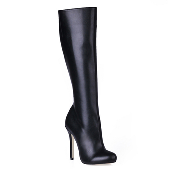 Women Stiletto Thin High Heel Knee-High Boots Round Toe Sexy Fashion Evening Dress Party Ball Lady Long Boots 0640CBT-b