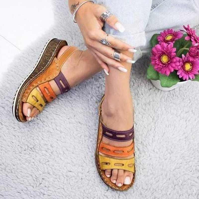 Sandalias de alta calidad de colores mezclados con torridez para mujer