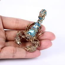 Брошь скорпиона Пион для женщин брошь Стразы в виде насекомых с животными кристаллами Женская брошь для вечеринки ювелирные изделия в подарок Kpop