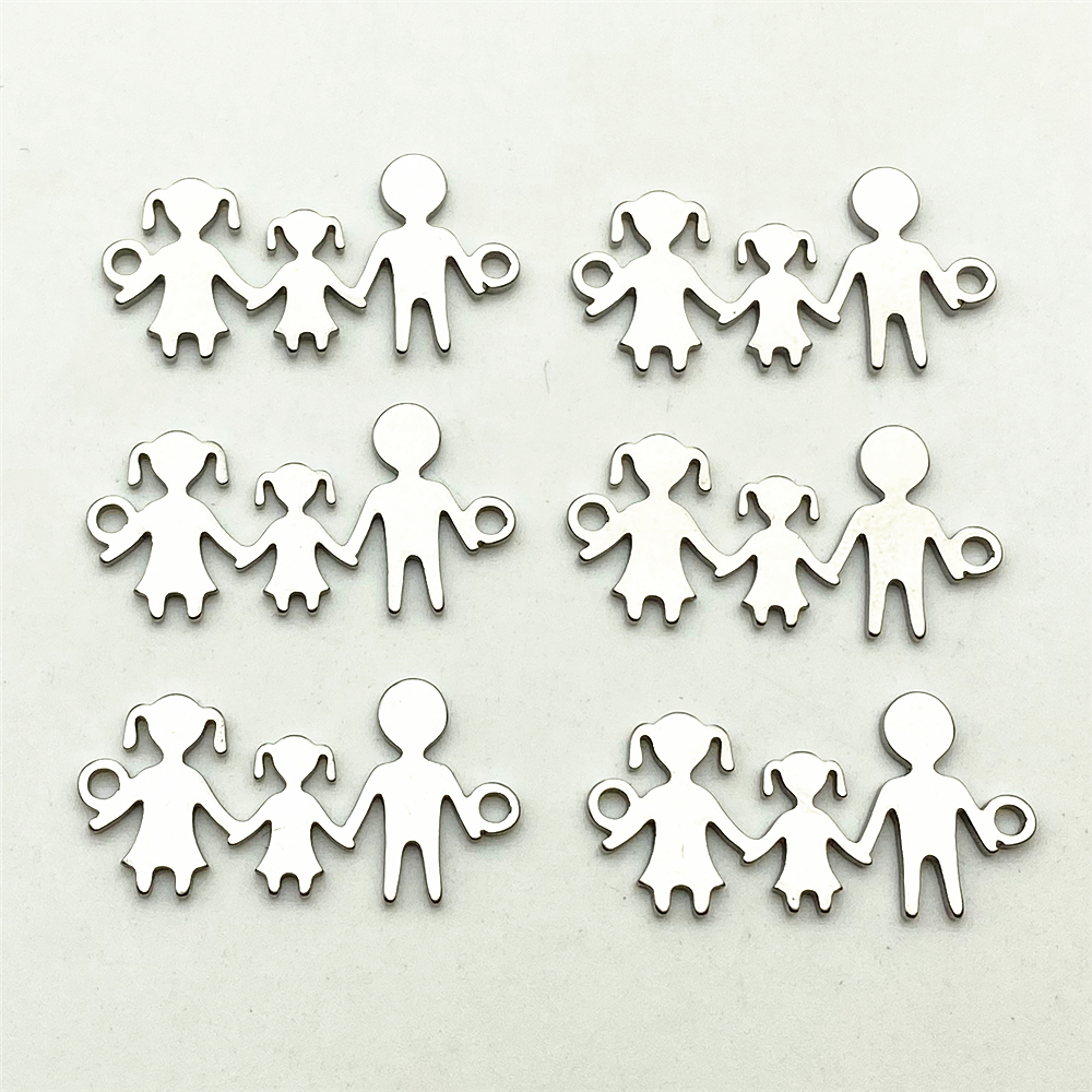 10pcs All Family Charm Stainless Steel Jewelry Connect Use Members Hand In Hand Bracelet Necklace Connectors Diy Jewelry Making