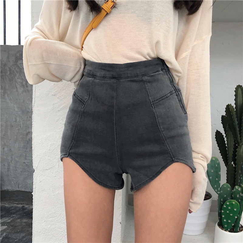 H579bf8e4759f416c8dd0e8a1be5467d9C - DEAT New spring and summer fashion high waist slim elastic denim shorts female Zippers denim short pants WL16402L