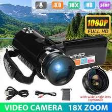 Câmera de vídeo de filmadora full hd profissional visão noturna 3.0 hd touch screen câmera 18x zoom digital com lente