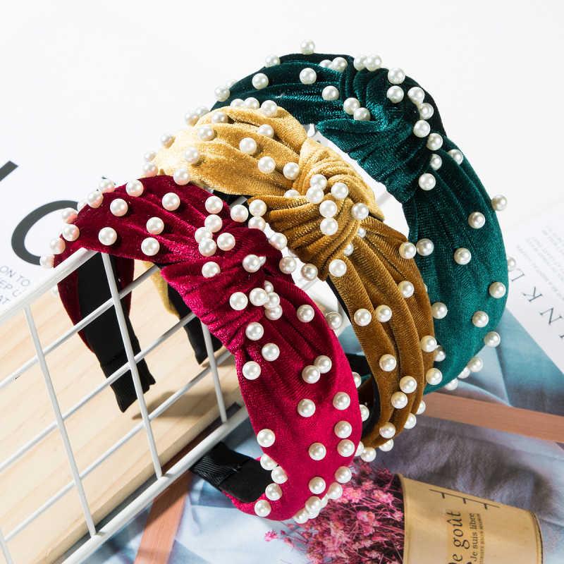 تجد لي واسعة اللون عقدة القماش عقال للنساء بسيطة جولة تقليد اللؤلؤ هيرباند 2019 جديد الأزياء الشعر مجوهرات اكسسوارات