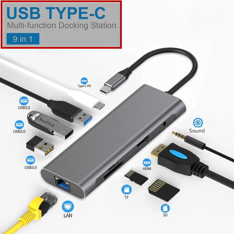 USB3.0 SD TF LAN VGA 3.5mm Audio PD High Speed Charging For MacBook  Huawei Xiaomi Smartphone Type C Docking Station 4K HDMI Hub