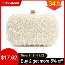 Bolso de mano con perlas para mujer, cartera de mano blanca, bolso de noche para fiesta, boda, bandolera negra