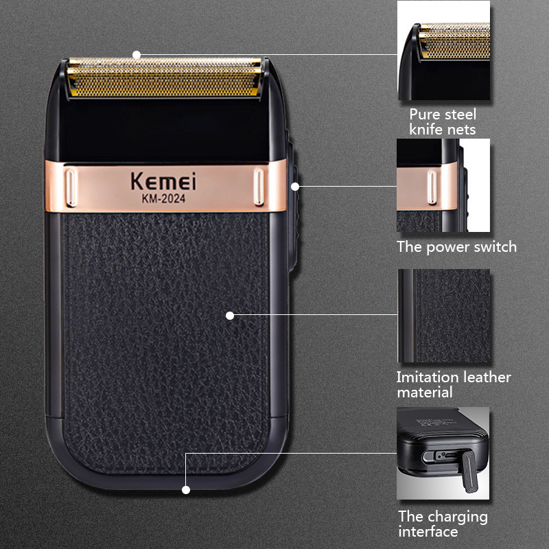 Kemei Electric Shaver for Men Twin Blade Reciprocating Cordless Razor Hair Beard USB Rechargeable Shaving MachineBarber Trimmer5 1