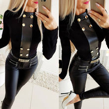 Warm Black Blouse Shirts Elegant PU Leather Womens