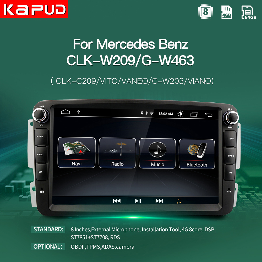 Kapud Android 10 Radio Stereo Car Multimedia Player For Mercedes Benz W209 8