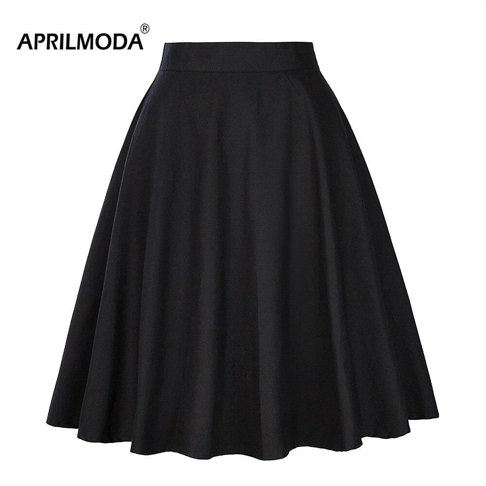 2019 Midi Short Skater Skirts 50s 60s Womens faldas Plus Size Black Pink Green Red Summer Casual Big Swing Skirt Tutu jupe femme