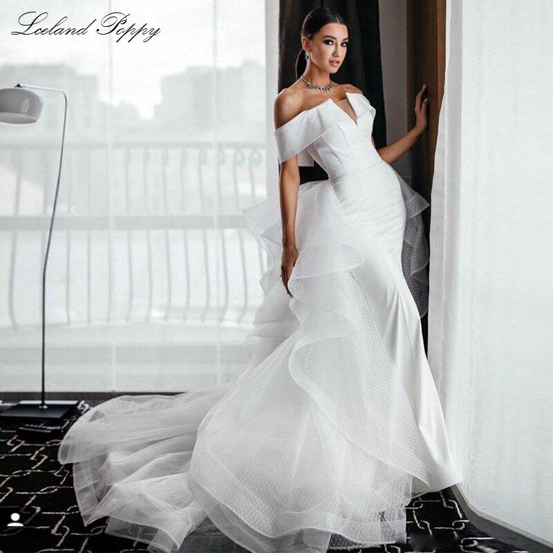 Lceland Poppy Elegant Mermaid Satin Wedding Dresses 2020 Off The Shoulder Vestido De Novia Floor Length Lace Bridal Dress