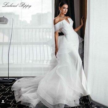 Lceland Poppy Mermaid Satin Wedding Dresses 2020 Boat Neck Vestido de Novia Floor Length Lace Bridal Dress with Detachable Train