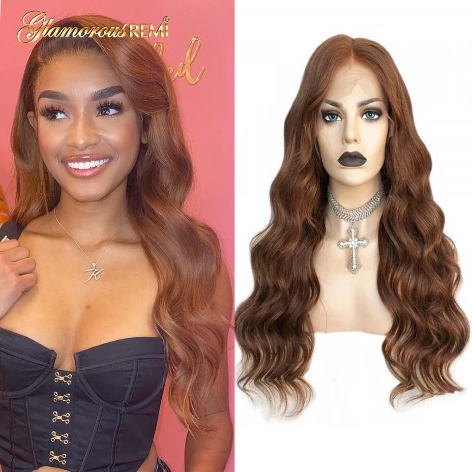 Brazilian Body Wave Lace Front Human Hair Wigs 13x4 Colored Human Remy Hair Long Wig Pre Plucked Brown Lace Wigs For Woman 150%