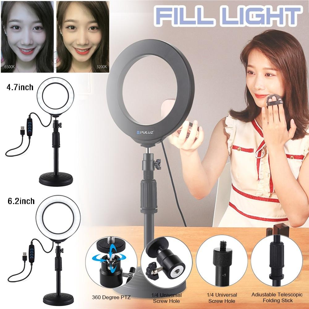 4 7inch 6 2inch Selfie Ring Light with Desk Stand 360-degree Rotatable Ball Head Stabilizer Dimmable USB Ring Light for Photography St