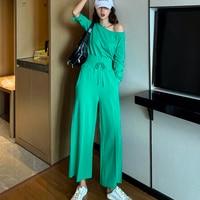 LANMREM Dark Green Collar Tie Straps Waist Short Sweater High Waist Wide Leg Pants Woman Track Suit Fashion 2019 Autumn TD010