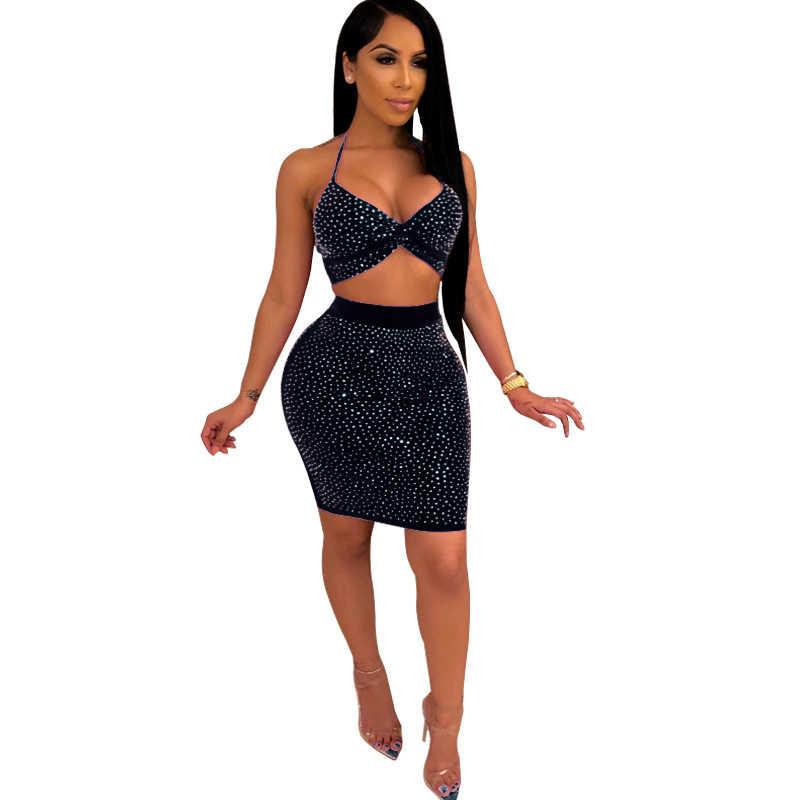 Adogirl/женский сексуальный комплект из двух предметов с бриллиантами, бюстгальтер с бретельками, топ с высокой талией, обтягивающая мини-юбка, вечерние платья для ночного клуба