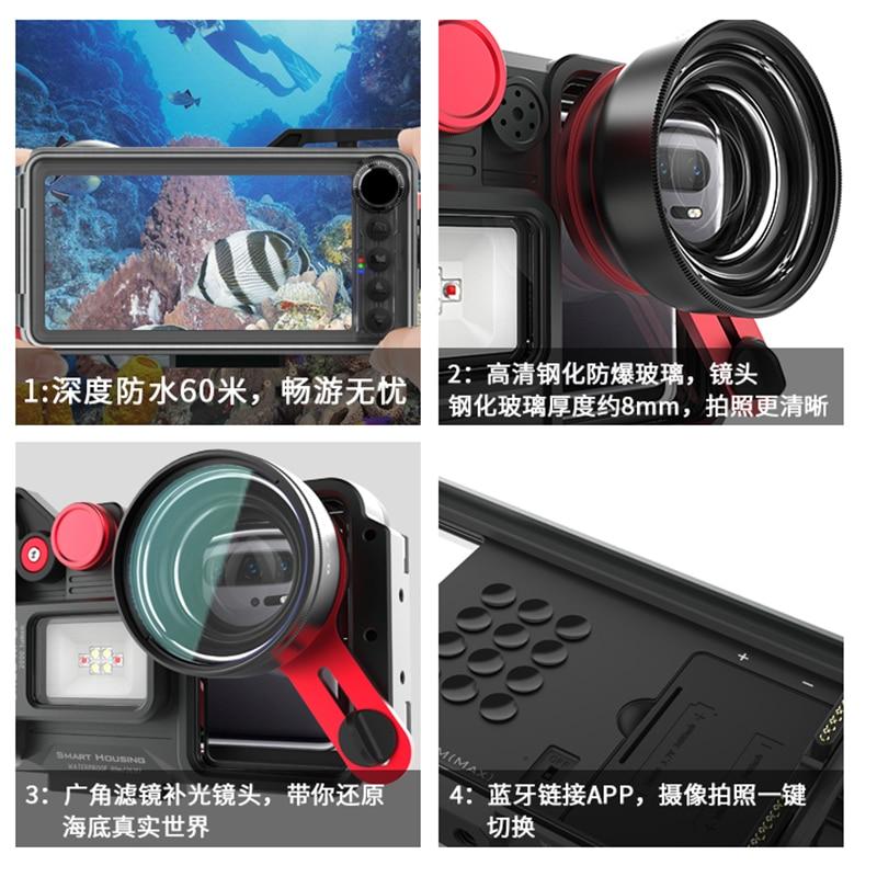 In lega di alluminio Caso di Immersione Per Huawei Compagno di 20 30 7 8 9 10 Pro Lite 20 Lite Pro 20X Copertura impermeabile fotografia subacquea - 6