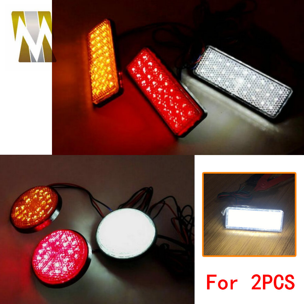 Round/Rectangle Motocross Motorbike Tail Light LED Reflector Brake Lights Turn Signal Lamp Cars Motorcycle Universal Accessories