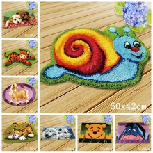 Pulaqi Animal Carpet Embroidery Cartoon Smyrna Latch Hook Kits DIY Button Cushion Animals Needlework Mat Klink Haak Kussen Bloem