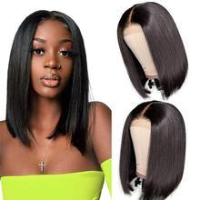Pelucas de Bob corto con cierre de encaje para mujeres negras, pelo sintético liso Bob 13x1 de 10, 12 y 14 pulgadas, encaje frontal, uso diario