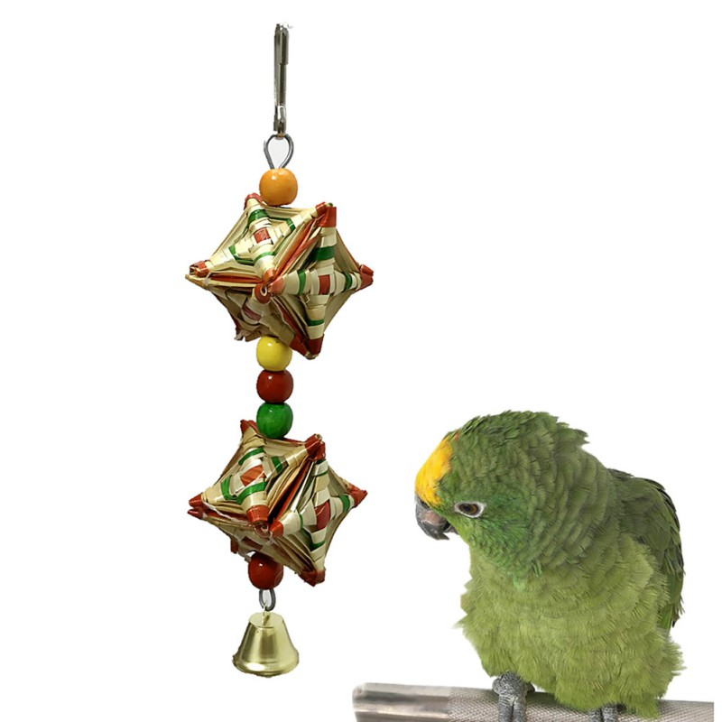 font b Pet b font Natural Grass Rattan Woven Barbell Chew Toy Parrot Cage Colorful
