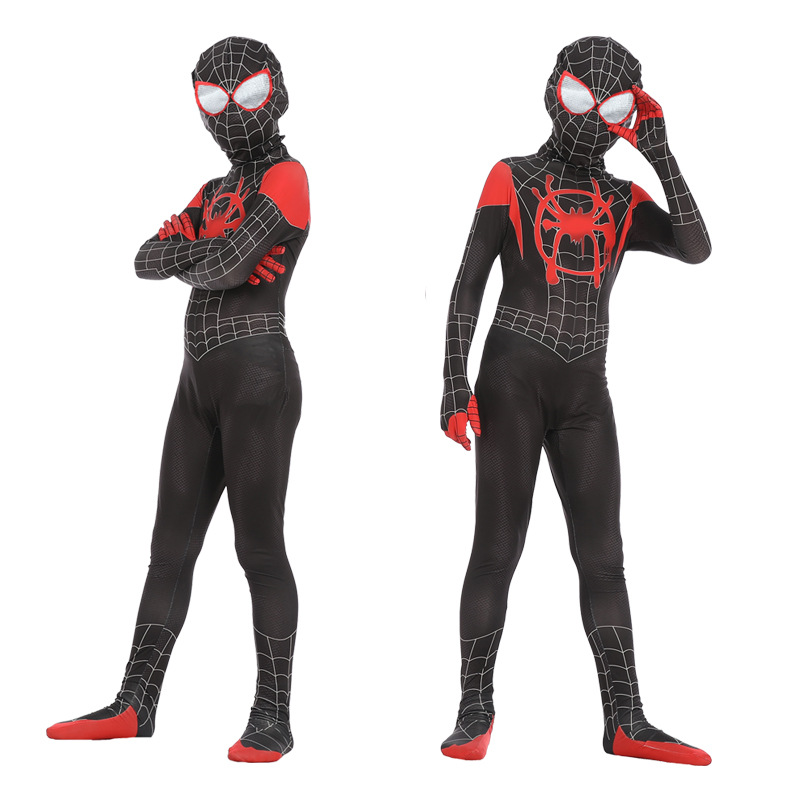 Spider Man Into The Spider-Verse Miles Morales Spiderman Costume Superhero Cosplay Zentai Adult Kids Spider-man Suit Bodysuit image