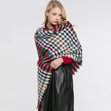 Fashion Colorful  Houndstooth Capes Variety Scarf Double-Faced Autumn Winter Womens Poncho Plaid Shawl Warm Cloak