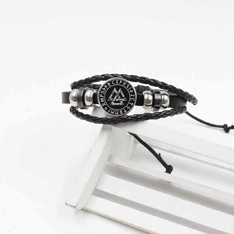 אופנה סקנדינבי נורדי ויקינג צלב קמע קריסטל זכוכית צמיד עור קלוע תכשיטי אבזרים