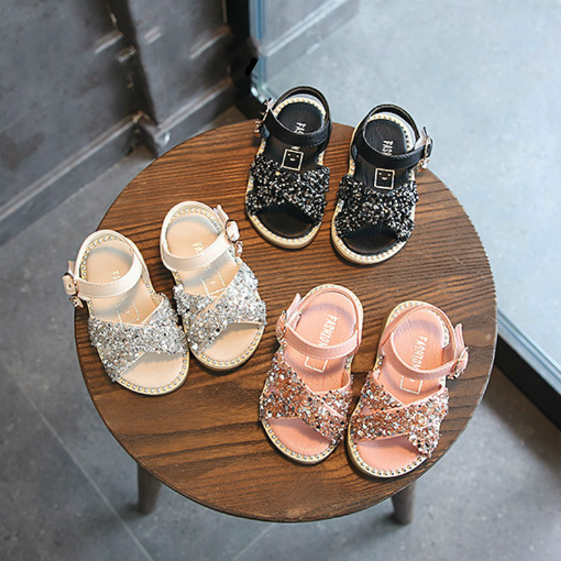 12-16cm Bling Baby Shoes Girl Baby Sandals-Skirting Toddler Shoes Rhinestone Summer Sandals Kid Girls Princess Party Dress Shoe