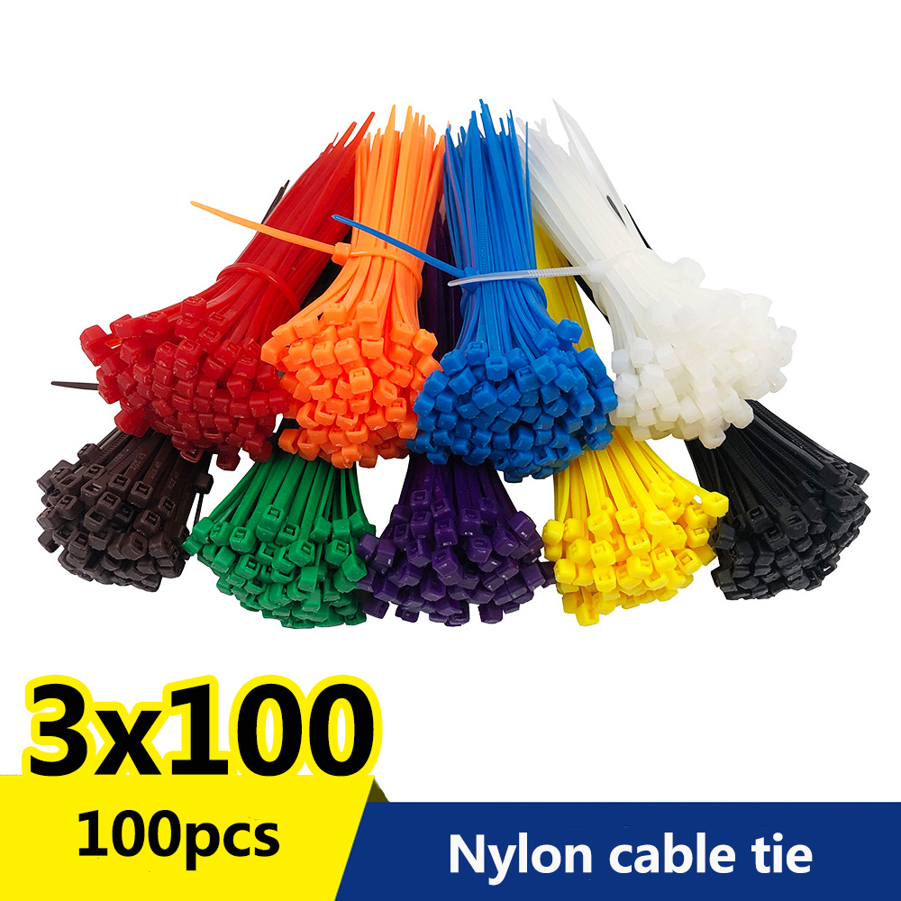 Cable-Zip-Ties Fasten-Cable Organiser Nylon-Wire Self-Locking Black White 100pcs/Bag