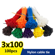 100 adet/torba 8 renk 2.5mm x 100mm 2.5mm * 100mm kendinden kilitleme naylon tel kablo zip bağları kablo bağları beyaz siyah organizatör sabitleyin kablo