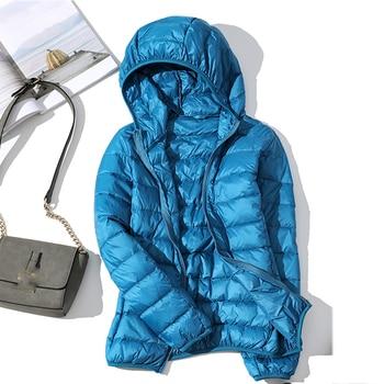 high quality 2019 New Autumn Winter Women Thin White Duck Down Jacket Parka Female Ultra Light Down Coat Short Tops Plus Size 4