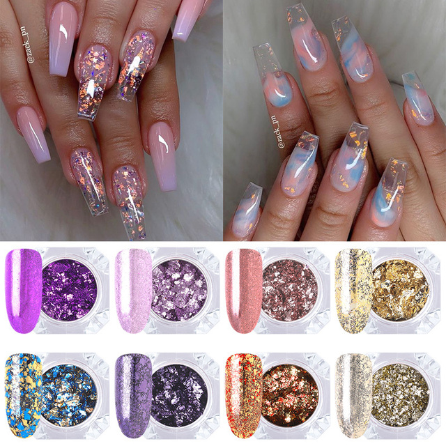 1 Box Purple Yellow Nail Fakes Colorful Irregular Sequins Manicure Sparkling Paillette Nail Art Flakies Nail Tips Decoration