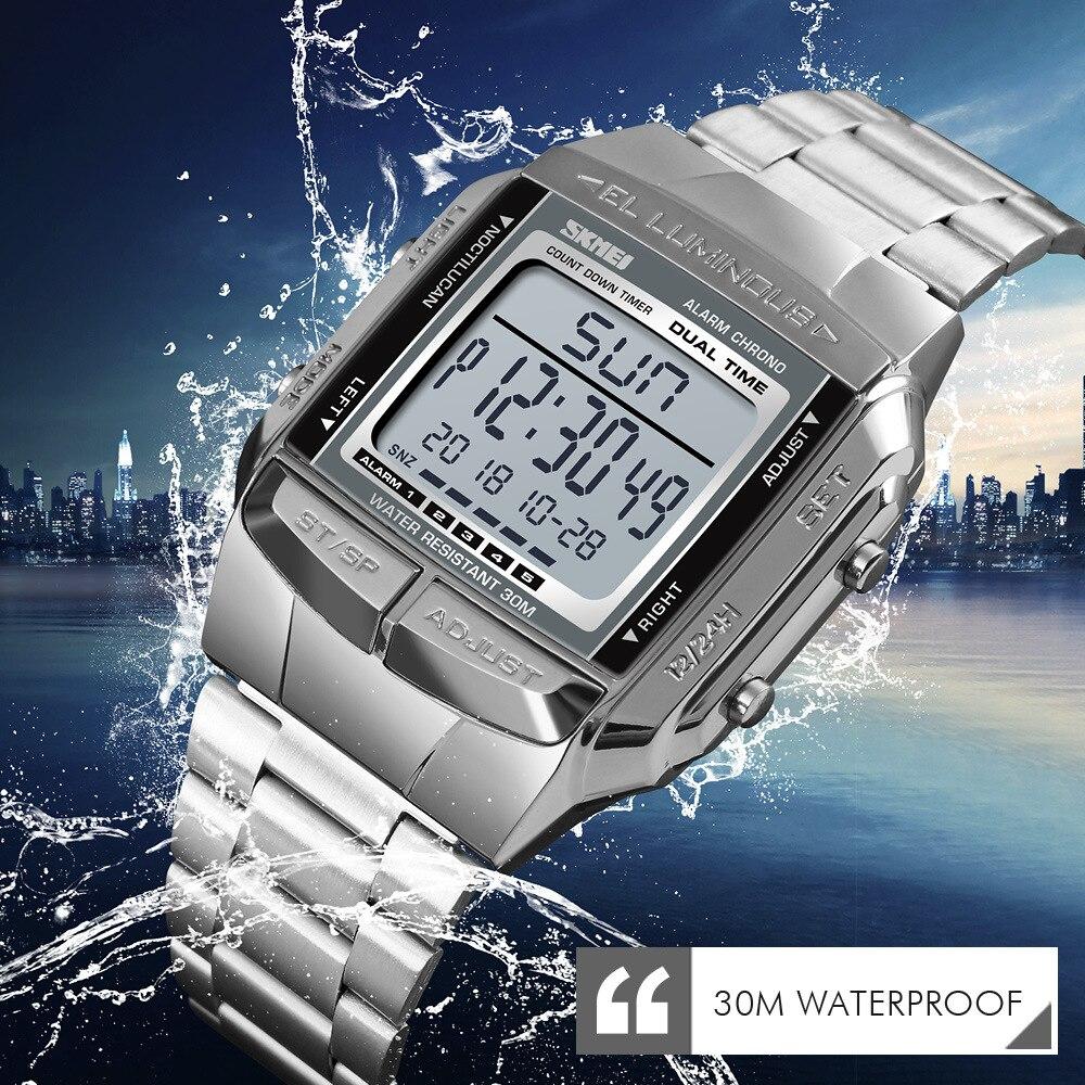 SKMEI СВЕТОДИОДНЫЕ цифровые часы для мужчин модные водонепроницаемые 3 будильника обратного отсчета из нержавеющей стали Мужские часы мужски...