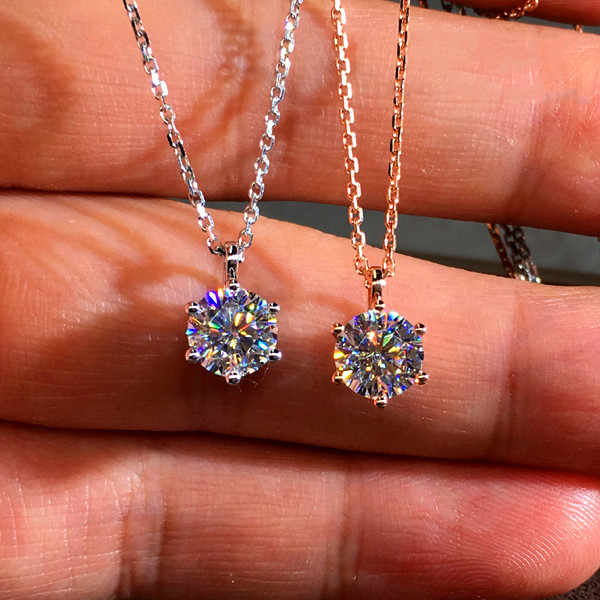Luxury Female Crystal Zircon Stone Necklace Cute Small Round Pendant Necklace Silver Rose Gold Chain Necklaces For Women