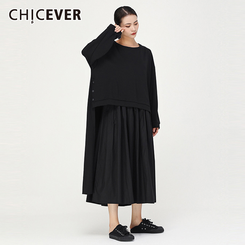 CHICEVER Patchwork Hit Color Two Piece Set Women O Neck Long Sleeve Asymmetric Shirt Midi Pleated Skirt Sets Female 2020 Fashion