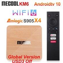 Mecool km6 deluxe edition amlogic s905x4 caixa de tv android 10 4gb 64gb wifi 6 google certificado suporte av1 bt5.0 1000m conjunto caixa superior