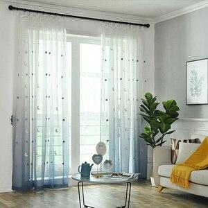 Cortinas de tul transparente con degradado para ventana telas de tul de cáñamo con bordado de estrellas y luna, cortinas de habitación para niños M154 y 30